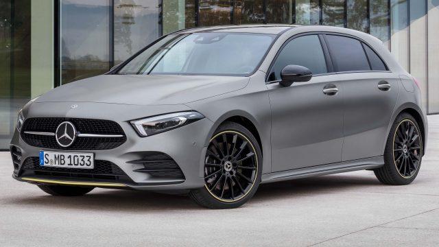 2018 Mercedes-Benz A-Class hatch - front, matt gray