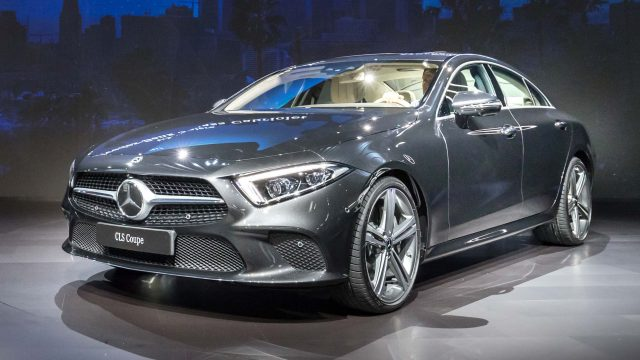 2018 Mercedes-Benz CLS - CLS450, front, gray, on stage