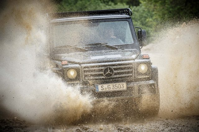 2016 Mercedes-Benz G350d Professional (BR463) - front, driving through mud, water