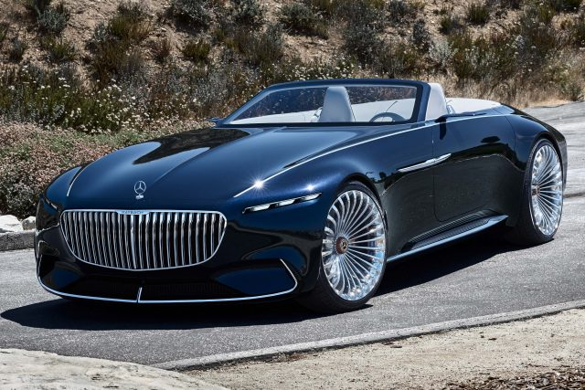 2017 Mercedes-Maybach Vision 6 Cabriolet Concept - front, blue, top down
