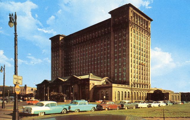 Postcard depicting Michigan Central Station, circa 1955