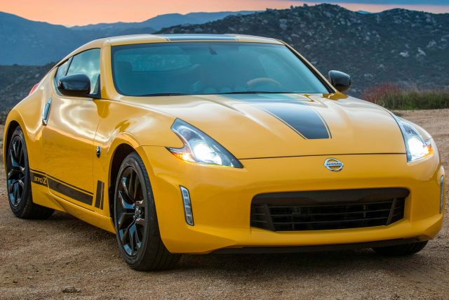 2018 Nissan 370Z Heritage Edition - front, yellow with black stripes
