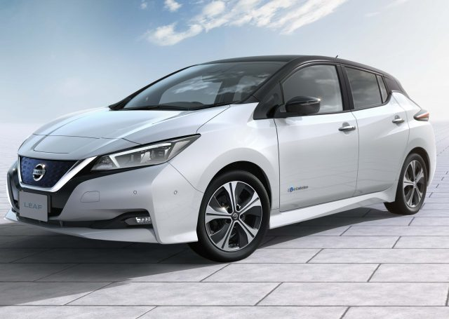 2017 Nissan Leaf - front, white with black roof