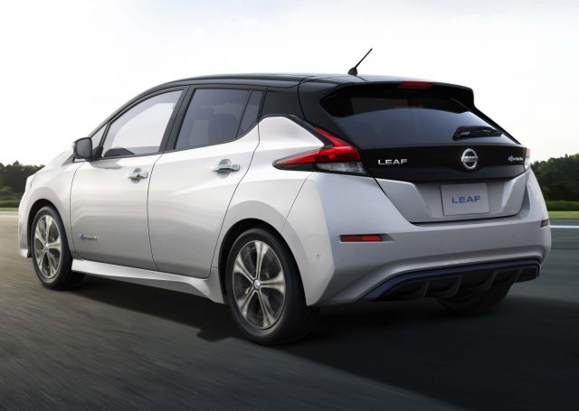 2017 Nissan Leaf - rear, white with black roof