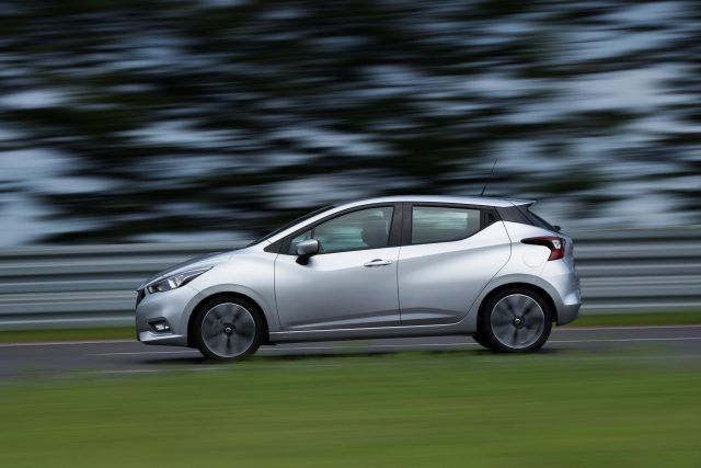 K14 Nissan Micra - side, silver, action
