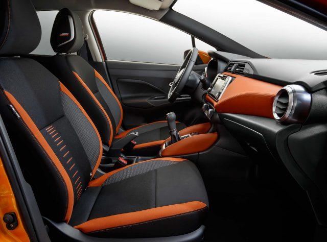 K14 Nissan Micra - front seats, orange highlights