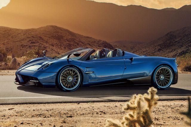 Pagani Huayra Roadster - front, blue, deser