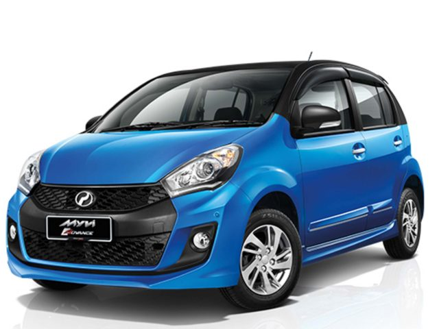 2016 Perodua Myvi - blue with black roof, front