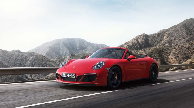 Porsche 911 Carrera 4 GTS Cabriolet - front, red
