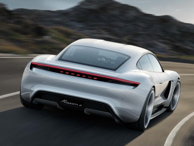 Porsche Mission E concept - rear, action
