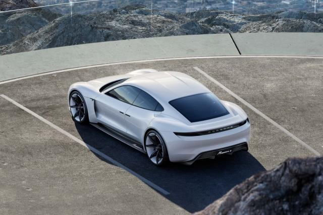 Porsche Mission E concept - rear, car park, overlooking Los Angeles