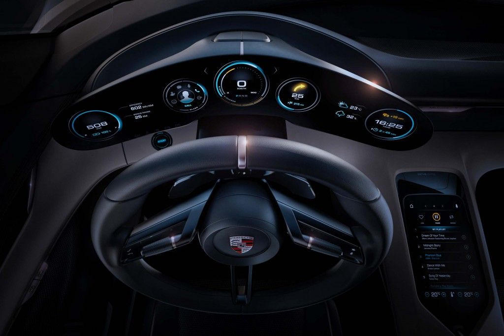 Porsche Mission E concept - instruments, steering wheel