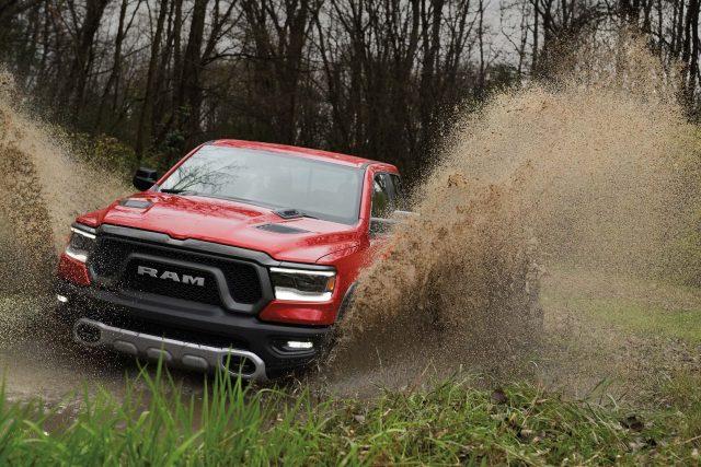 2019 Ram 1500 Rebel - front, fording mud river