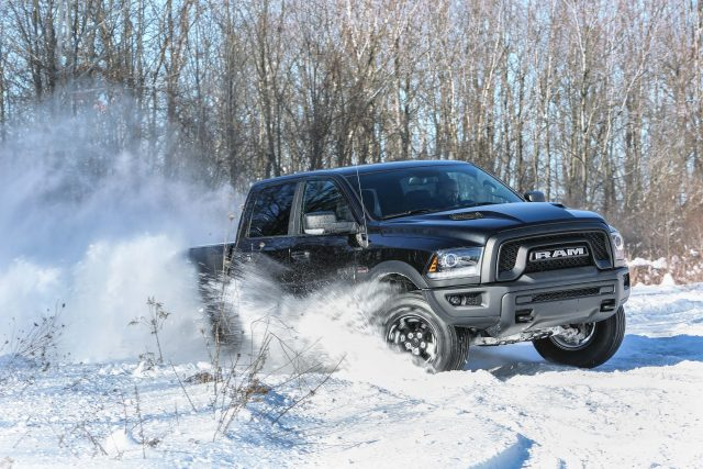 2017 Ram 1500 Rebel Black - drifting, snow, front
