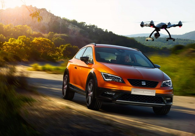 2015 Seat Leon Sport Cross concept - front, drone, driving, off road