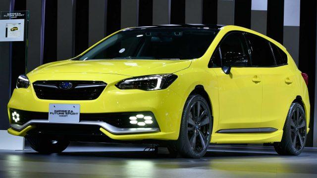2017 Subaru Impreza Future Sport Concept - front, yellow, on stage 2017 Tokyo Motor Show