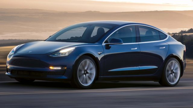 2017 Tesla Model 3 - front, blue, driving