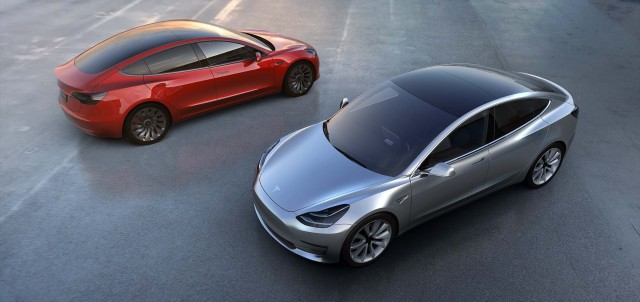 Tesla Model 3 - red and silver