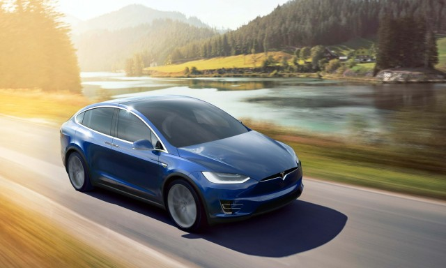 Tesla Model X - blue, driving