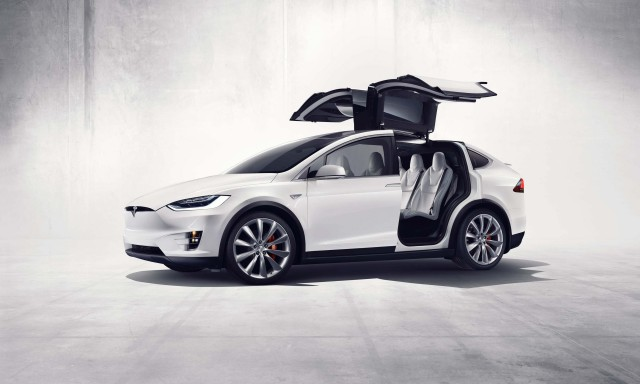Tesla Model X - falcon doors open, side