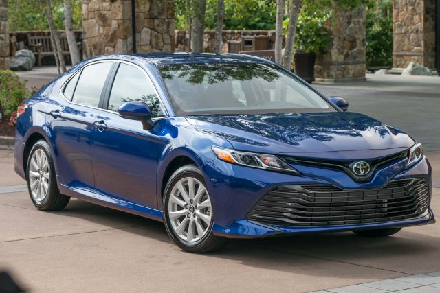 2018 Toyota Camry LE - front, blue