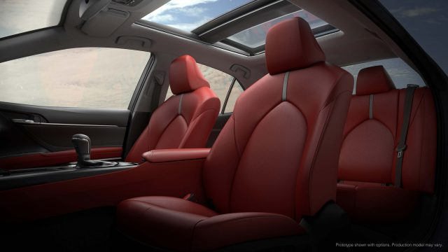2018 Toyota Camry XSE - front and rear red leather seats