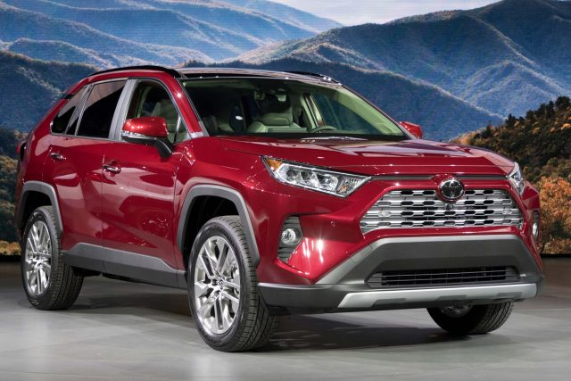 2019 Toyota RAV4 - red, front, on stage 2018 New York Auto Show
