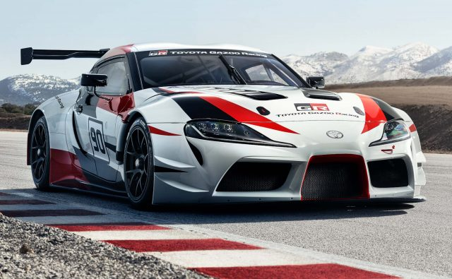 2018 Toyota Supra GR Racing Concept - front, white, race track