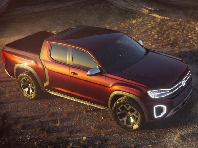 2018 Volkswagen Atlas Tanoak Pickup Concept - overview, red