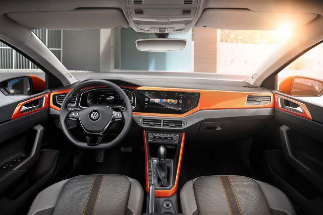 Volkswagen Polo Mark VI - interior, dashboard, orange highlights