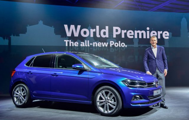 Volkswagen Polo Mark VI - blue, front and side