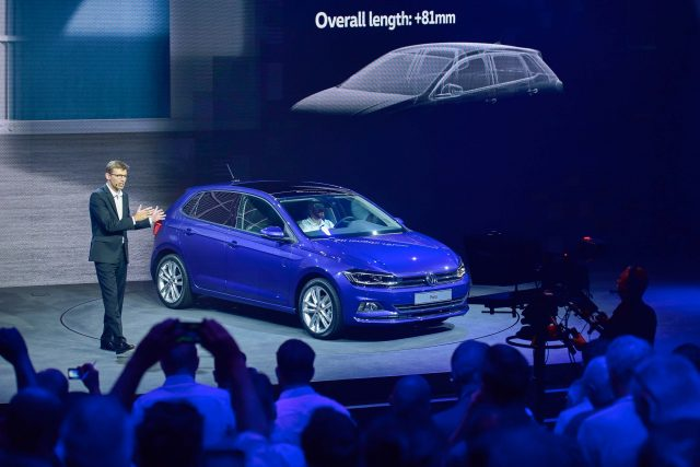 Volkswagen Polo Mark VI - on stage, launch, blue